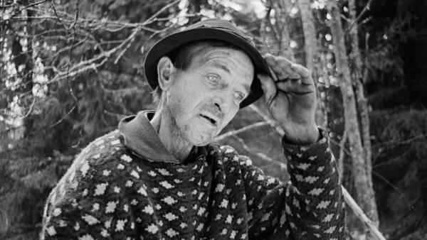 Lähikuva vanhasta hattupäisestä miehestä villapaidassa, taustalla metsää