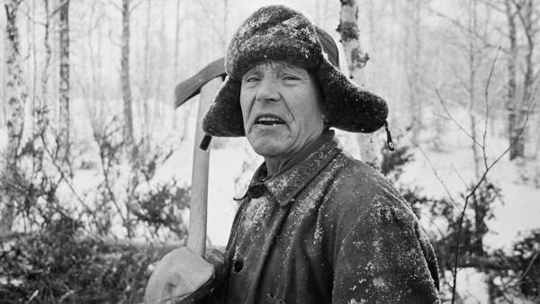 Lähikuva vanhasta miehestä talvivaatteissa kirves kädessä, taustalla luminen metsä ja kaadettu mänty