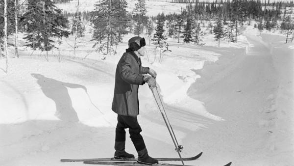 Lumisella metsätiellä mies talvivaatteissa suksilla katsomassa kaukaisuuteen