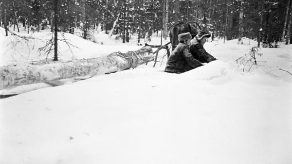 Lumisessa metsässä kaksi miestä talvivaatteissa kaivamassa lunta, taustalla hevonen vetämässä puunrunkoa