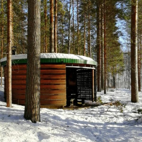 Luston pihapiirissä sijaitseva, pyöreä puusta tehty grillikota talvisessa maisemassa, auringonpaisteessa.
