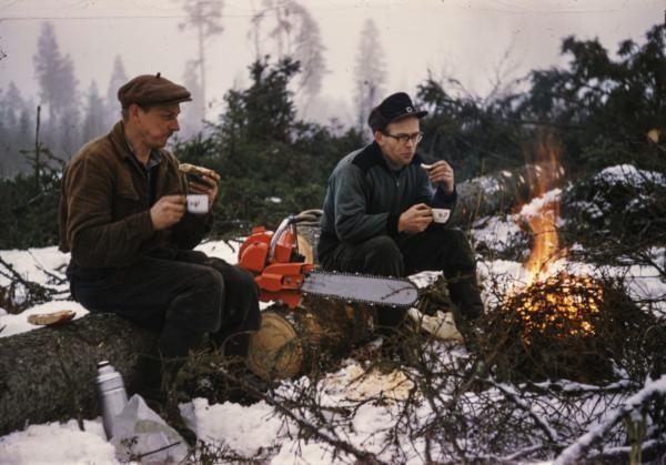 Metsätyöläiset kahvitauolla-Kalle Rautanen-Metsä-minä-kampanja